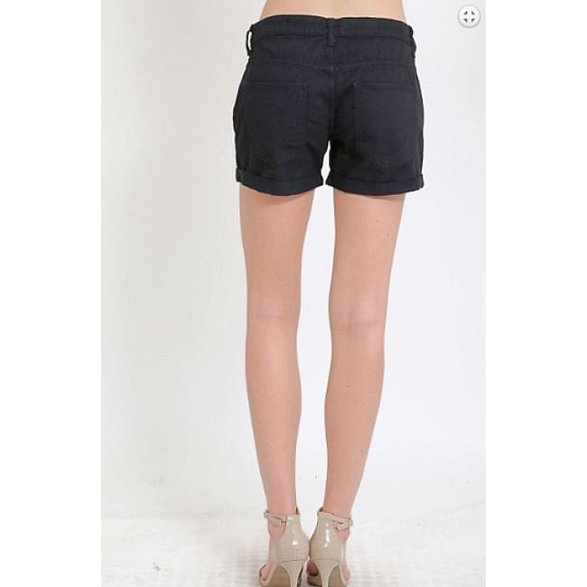 Black Retro Denim Distressed Jean Shorts - Womens Shorts