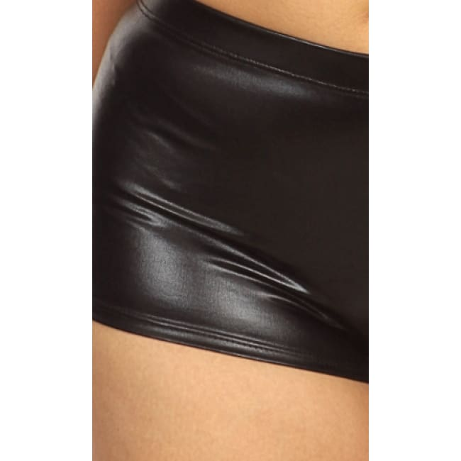 Black Wet Look Shorts - 1x / Black - Womens Shorts