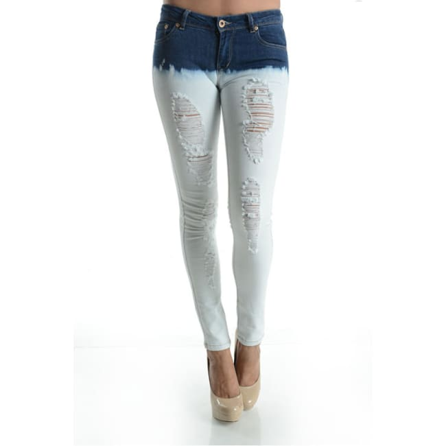Bleached Ripped Skinny Denim Jeans - 1 / Blue - Bottoms