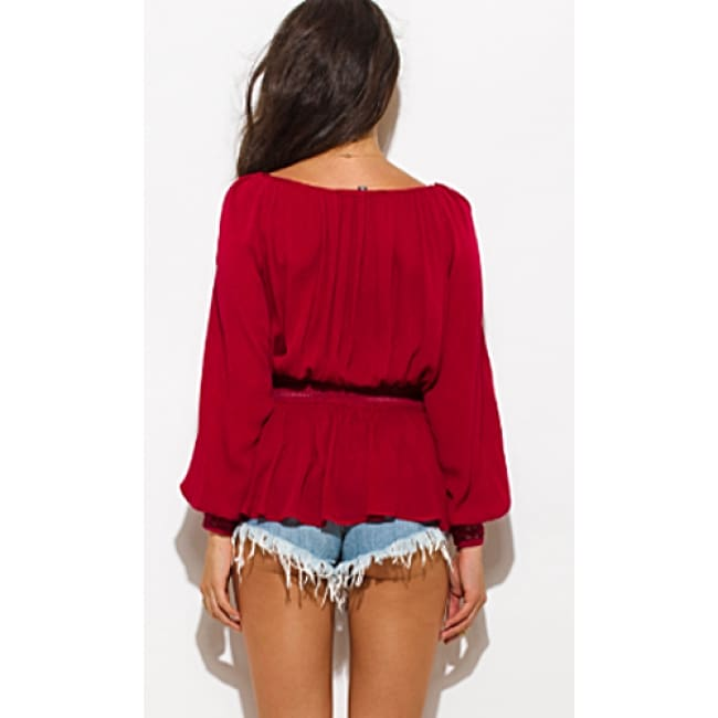 Boho Long Sleeve Crochet Blouse Top - Tops