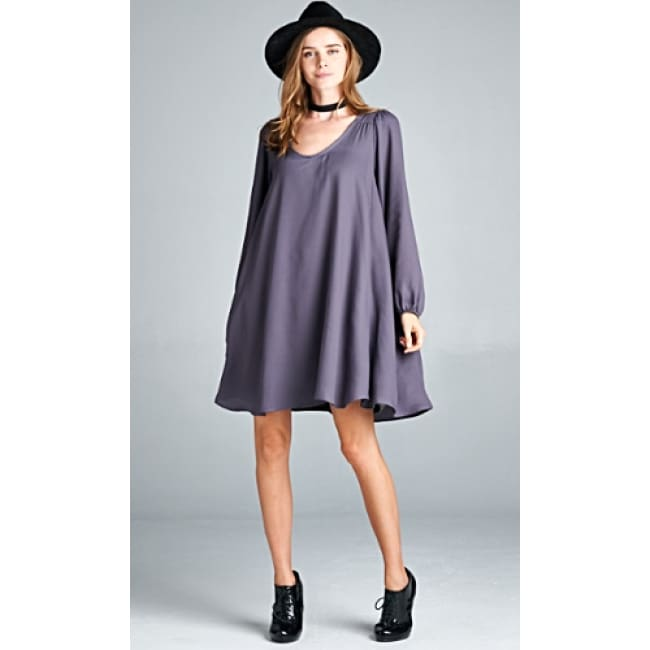 Boho Long Sleeve Swing Dress - Dresses