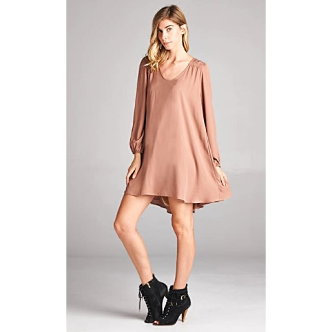 Boho Long Sleeve Swing Dress - L / Taupe - Dresses