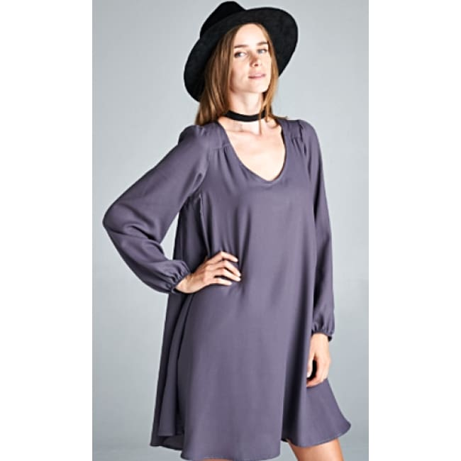 Boho Long Sleeve Swing Dress - S / Charcoal - Dresses