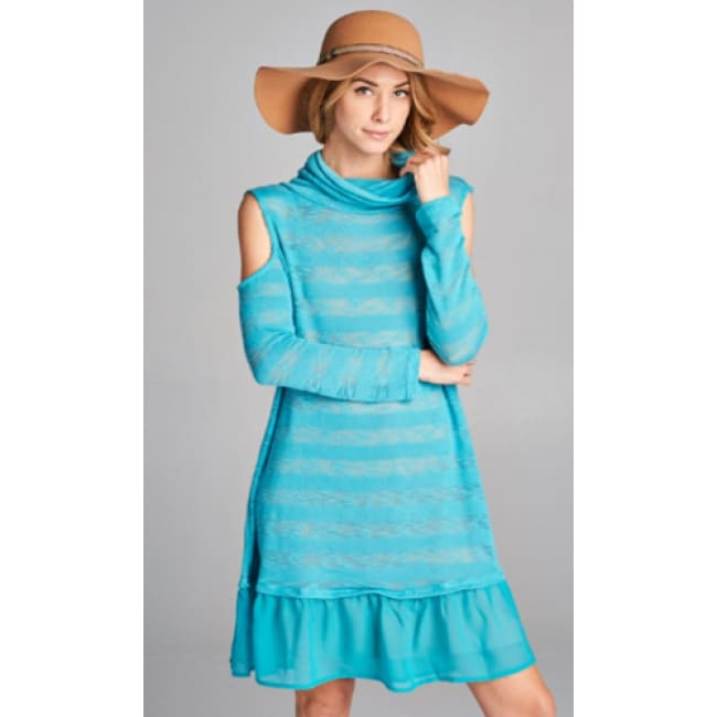 Boho Sheer Turtle Neck Dress