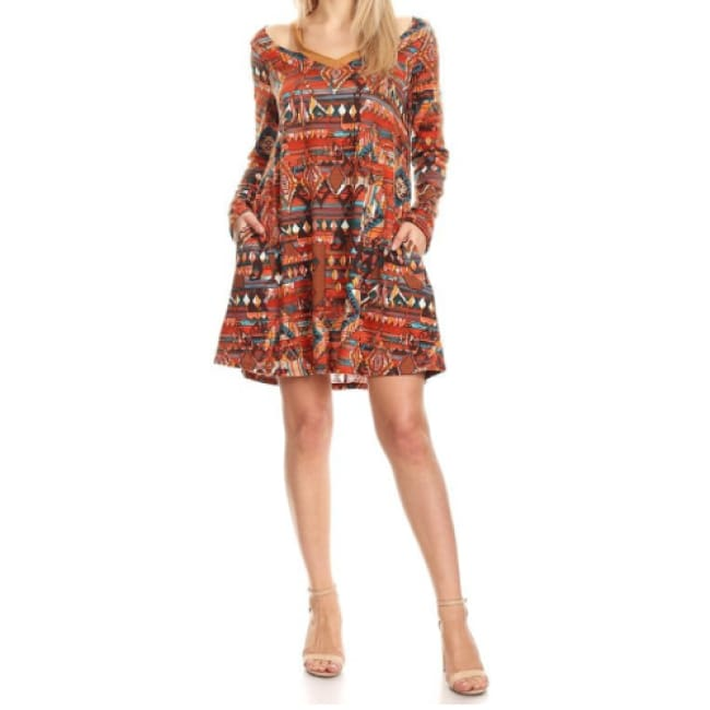 Boho Tribal Print Cold Shoulder Dress
