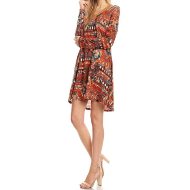 Boho Tribal Print Cold Shoulder Dress - Dresses