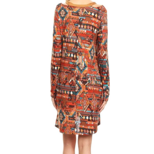Boho Tribal Print Cold Shoulder Dress - S / Orange Red - Dresses