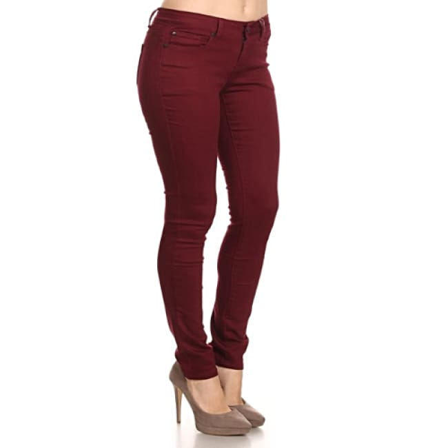 Burgundy Mid Rise Solid Denim Jeans - Jeans