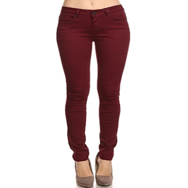 Burgundy Mid Rise Solid Denim Jeans made in the USA.