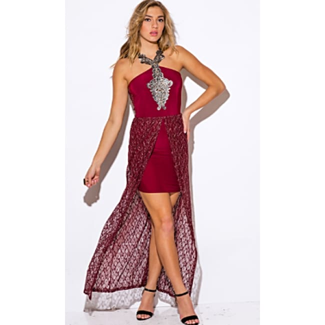 Burgundy Red Metallic Lace High Low Slit Dress