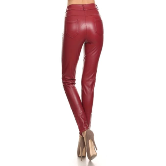Burgundy Vegan Leather jeans - Bottoms