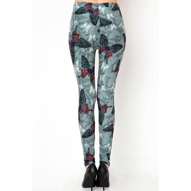 Butterfly Print Brushed Full Leggings - Leggings