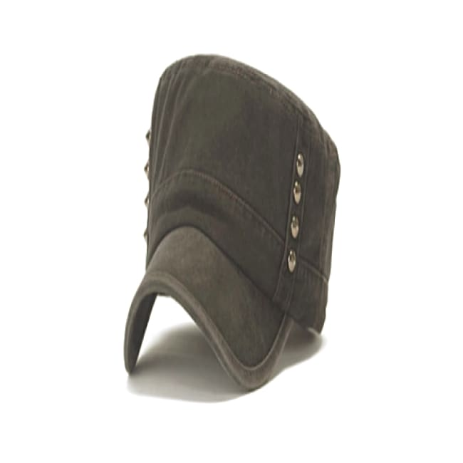 Chic Rivets Embellished Military Style Hat - Charcoal - Hats