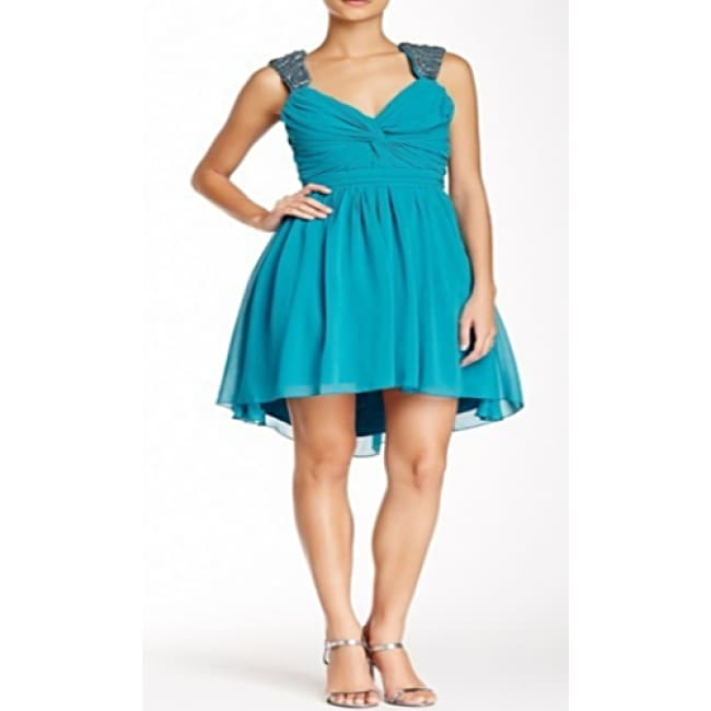 Chiffon Embellished Cap Sleeve V Neck Dress - 9 / Teal - Dresses