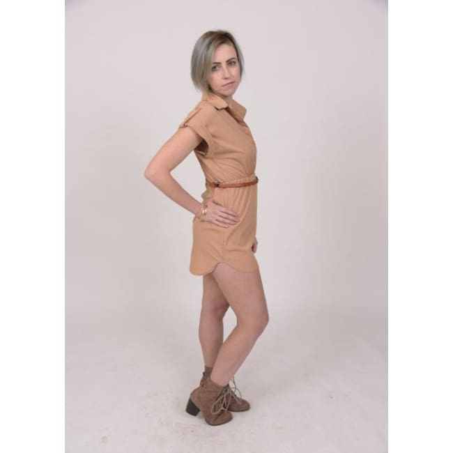 Classic Chiffon Shirt Dress - S / Tan - Dresses