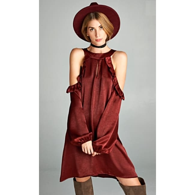 Burgundy Classy Cold Ruffle Shoulder Dress