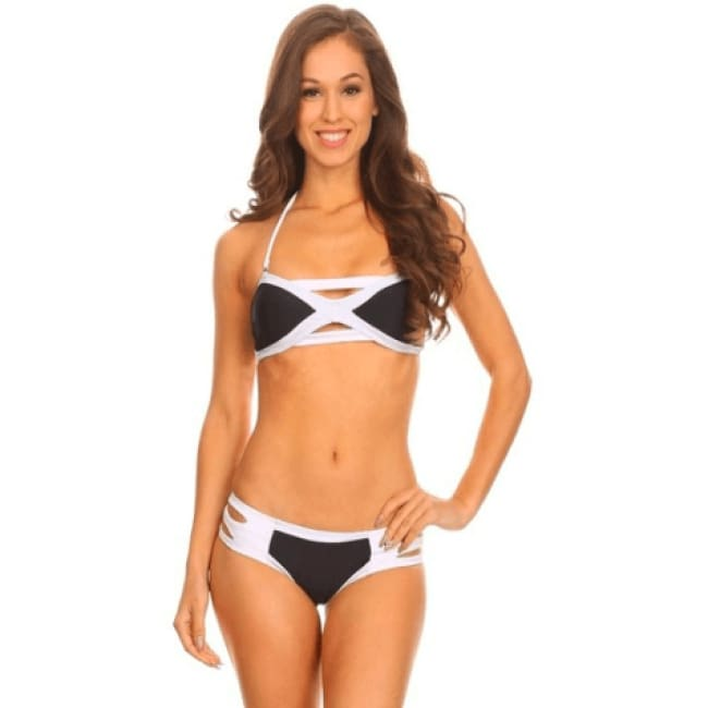 Color Blocking Bikini Set - S / Black - Swimwear
