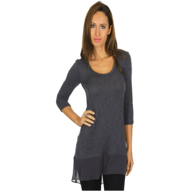 Contrast Tunic Top With 3/4 Sleeve