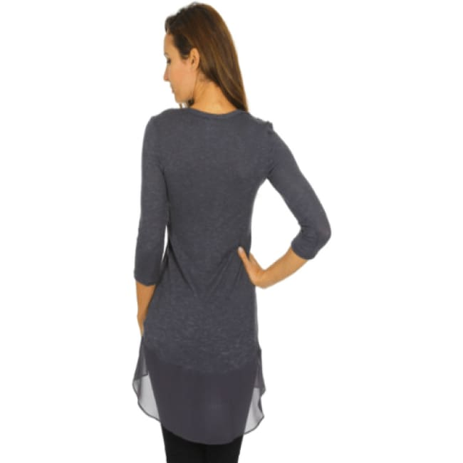 Contrast Tunic Top With 3/4 Sleeve - Tops