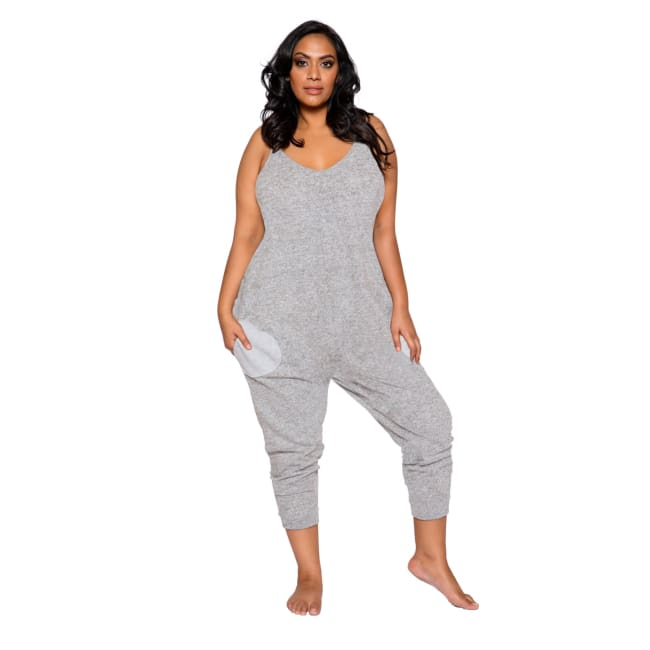 Cozy & Comfy Pajama Jumpsuit with Pocket Details - XL/XXL / Grey - lingerie