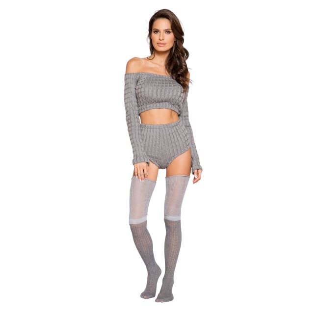 Cozy & Comfy Pajama Short Set - S/M / Grey - lingerie