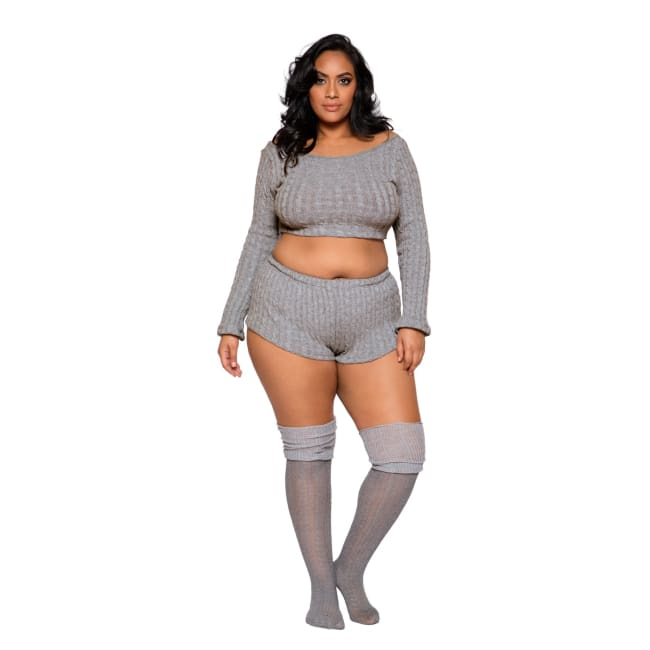 Cozy & Comfy Pajama Short Set - XL/XXL / Grey - lingerie