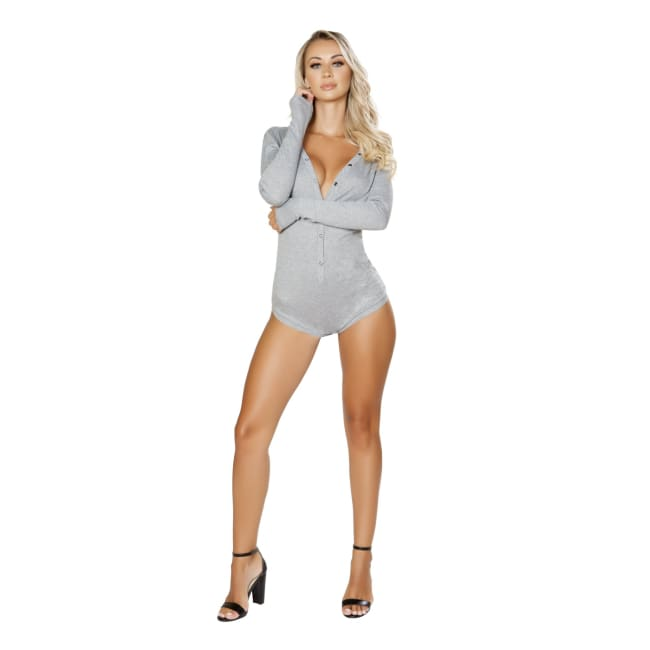 Cozy & Comfy Sweater Romper - S/M / Grey - Lingerie
