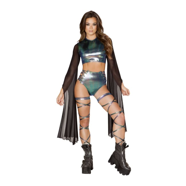 Crop Top with Flared Sheer Sleeves - Costume