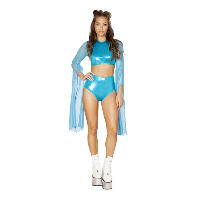 Crop Top with Flared Sheer Sleeves - Turquoise / Medium/Large - Costume