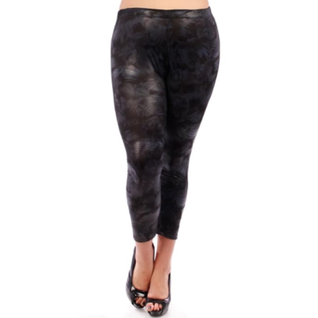 Deep Purple Textured Print Capri Leggings