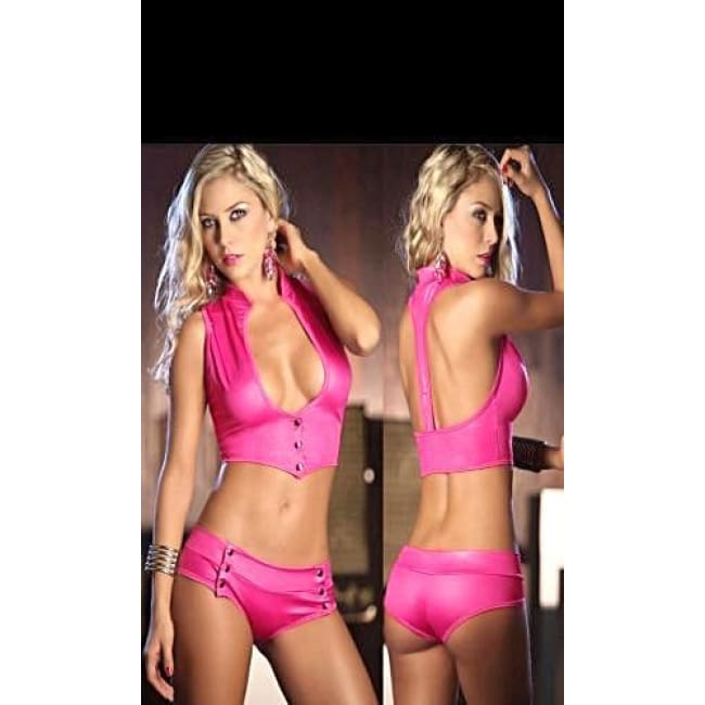 Women's Deep U Racer Back 2 Piece Button up Short Set