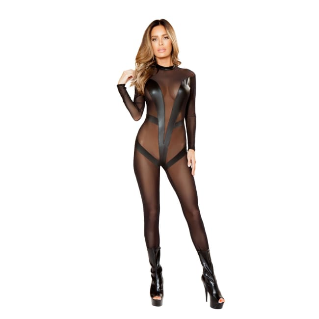 Detailed Mesh Jumpsuit - Black / S/M - Jump Suit