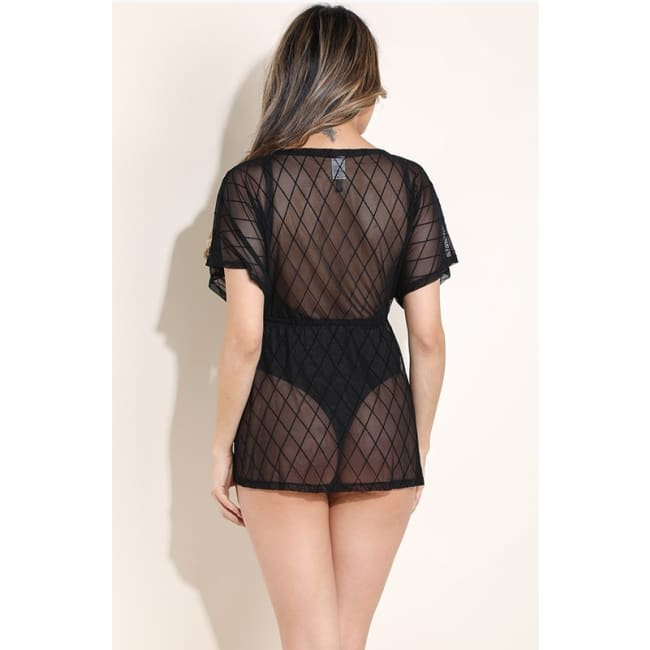 Diamond Mesh Cover up Robe - lingerie