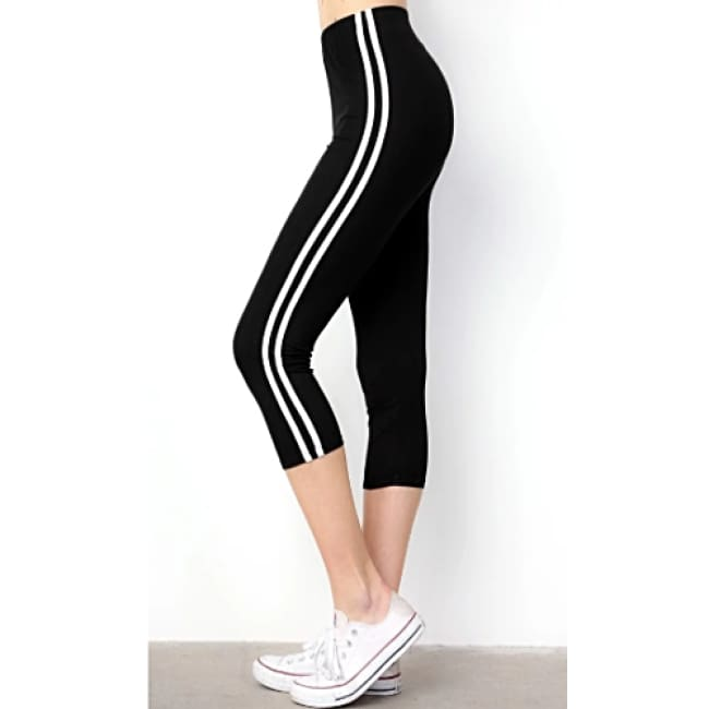 Women's Double Side Striped Solid Capri Leggings