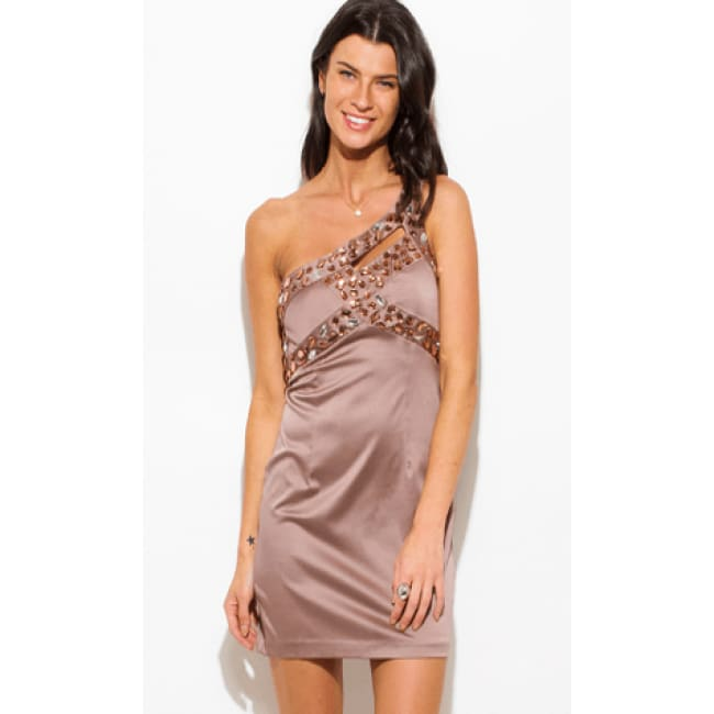 Mocha Embellished Pencil One Shoulder Formal Dress
