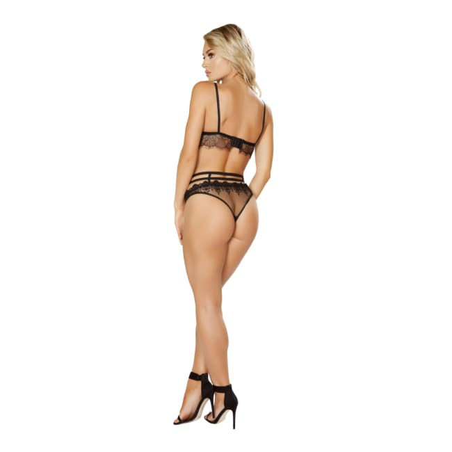Eyelash Bra Set Includes Lace Bra with Strap Detail & Panty - lingerie