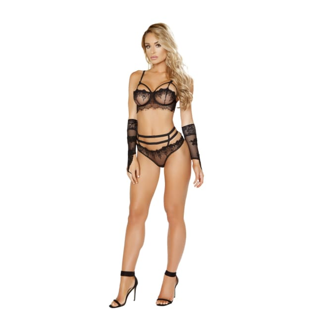 Eyelash Bra Set Includes Lace Bra with Strap Detail & Panty - S/M / Black - lingerie
