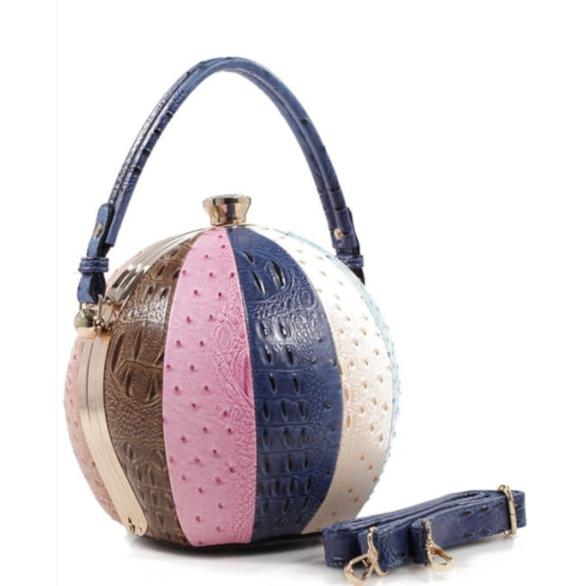 Fashion Faux Leather Ostrich Handbag Ball Shaped - Blue - Bags