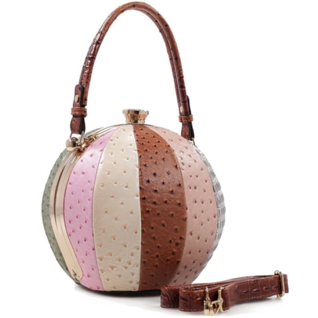 Fashion Faux Leather Ostrich Handbag Ball Shaped - Brown - Bags