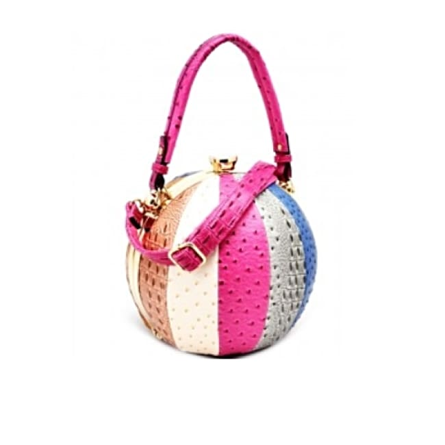Fashion Faux Leather Ostrich Handbag Ball Shaped - fucshia - Bags