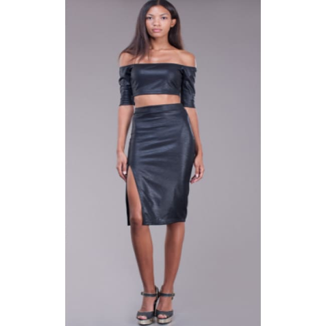 Faux Leather Halter Top Dress Set - S / Black - Dresses
