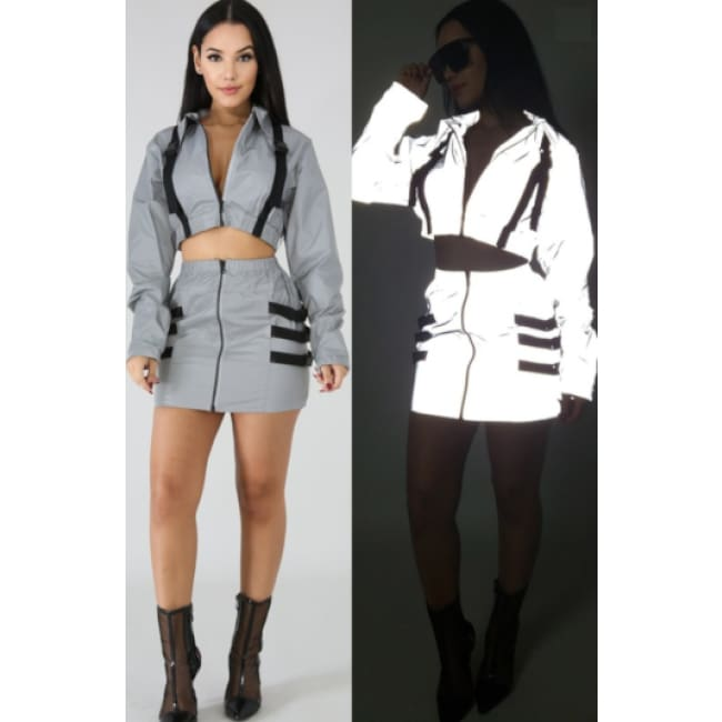 Women's Flash Reflective Buckle skirt Set