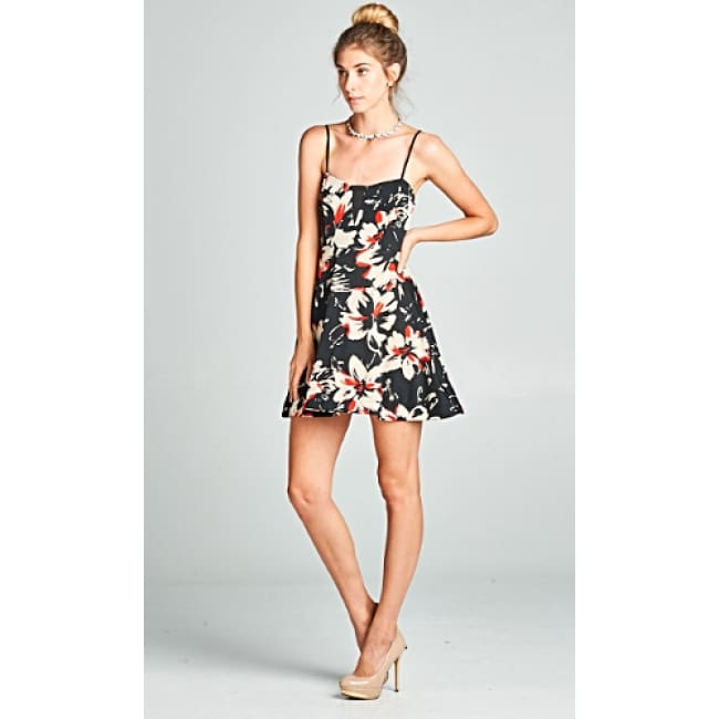 Floral Print Spaghetti Strap Short Dress - Dresses