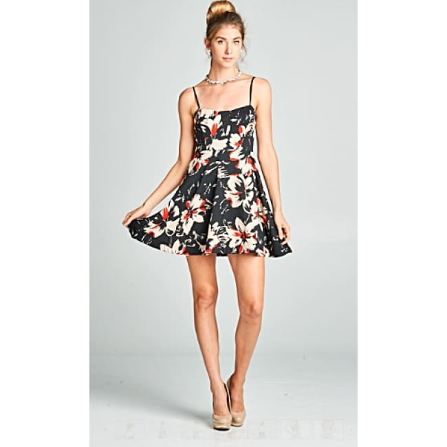 Floral Print Spaghetti Strap Short Dress