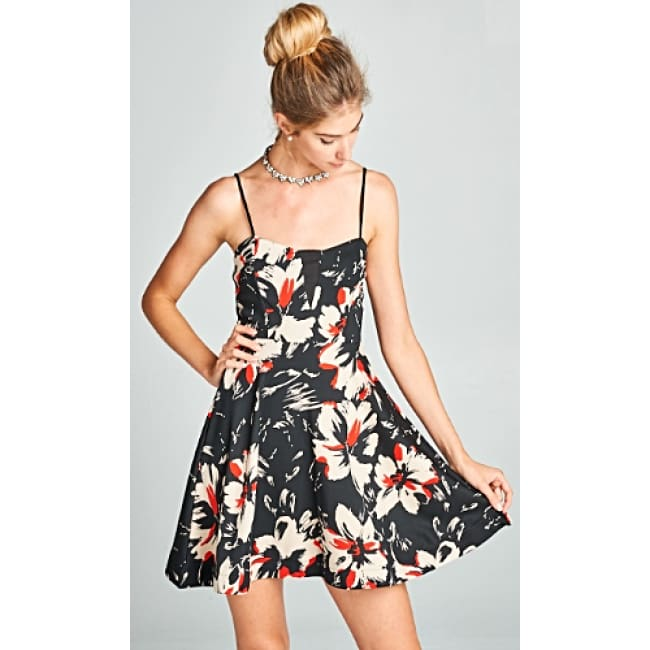 Floral Print Spaghetti Strap Short Dress - Small / Black - Dresses