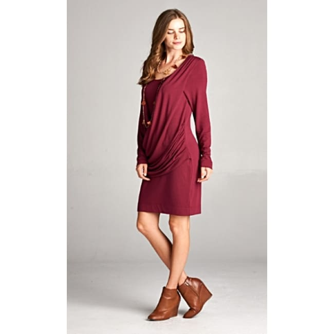 Frontal Crisscross Flirty Dress - S / Burgundy - Dresses