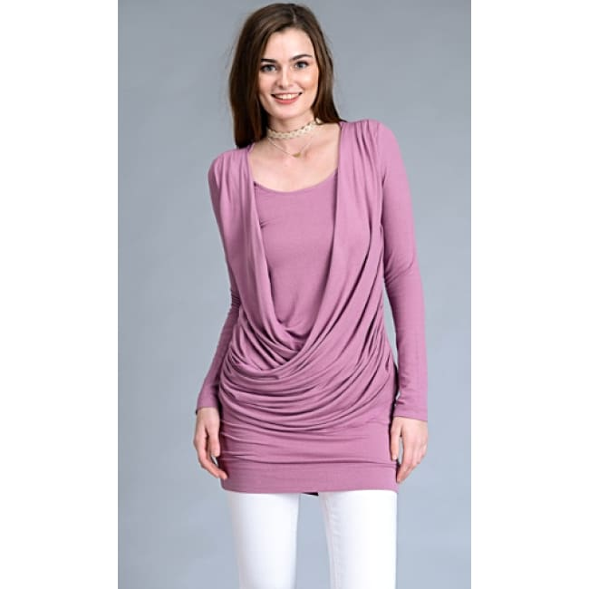 Frontal Crisscross Flirty Dress - S / Mauve - Dresses