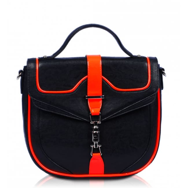 Harmony Neon Trim Satchel Bag - Black & Orange - Bags