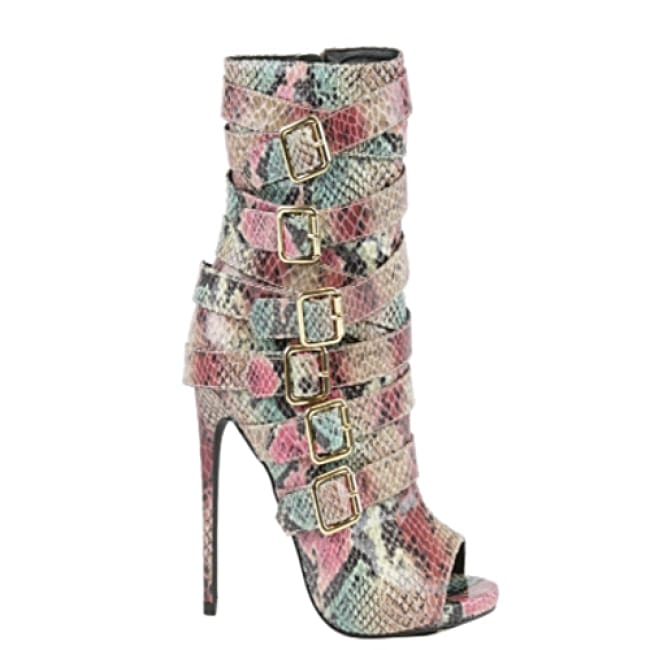 Harmony Snake Skin Side Strap Stiletto Booties - 6.5 / Blush - Heels