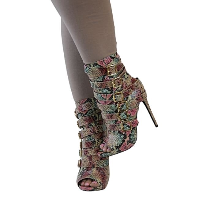 Harmony Snake Skin Side Strap Stiletto Booties - Heels